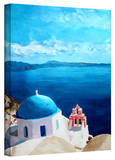 'Oia Santorini with Blue Sky' Gallery-Wrapped Canvas