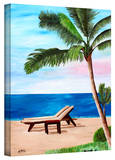 'Strand Chairs on Caribbean Beach' Gallery-Wrapped Canvas