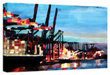 'Hamburg Harbour with Container Ship' Gallery-Wrapped Canvas