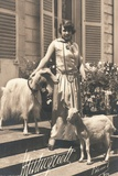 Woman Standing on a Series of Steps with Two Goats
