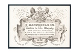 W Harwood and Son  Tailors  Trade Card
