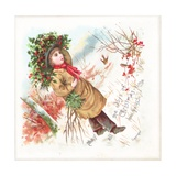 Boy Carrying Holly  Christmas Card