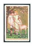 Girl and Boy with Lamb  Christmas Card