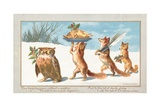 Owl and Foxes Carrying Christmas Feast  Christmas Card