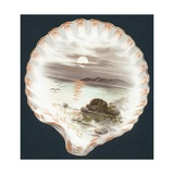 Clam Shell with Picture of Ocean  Christmas Card