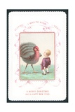 Boy Face-To-Face with Turkey  Christmas Card