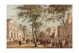 Spain Catalonia Barcelona Las Ramblas and the Liceu Opera House (Left) 19th Century Colored…