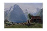 Girl in a Fjord Landscape