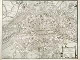 Map of Paris, from 'L'Atlas De Paris' by Jean De La Caille, 1714 Reproduction d'art