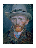 Vincent Van Gogh (1853-1890) Self-Portrait Bust with Brown Jacket and Gray Hat