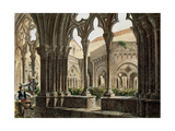 Spain Catalonia Poblet Monastery Cloister Engraving Color