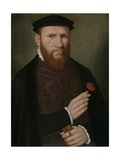Portrait of a Man with His Right Hand Holding a Red Carnation and in His Left a Glove  1540-51