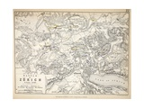Map of the Battle of Zurich  Published by William Blackwood and Sons  Edinburgh and London  1848