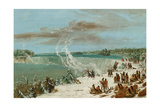Portage around the Falls of Niagara at Table Rock  1847- 48