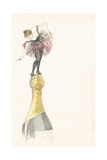 A Woman Standing on the Top of a Champagne Bottle