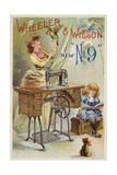 Woman Holding Parrot Next to Sewing Machine