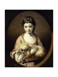 Portrait of Miss Emilia Vansittart  Half Length  Wearing a Pink and White Dress Holding a Dog …