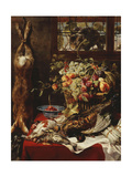 A Larder Still Life with Fruit  Game and a Cat by a Window