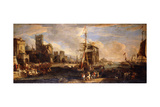 A Capriccio of a Mediterranean Seaport with Austrian Shipping  Merchants and Sailors on Quays in…