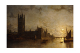 Westminster Abbey  the Houses of Parliament with the Construction of Westminster Bridge  1859