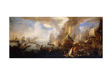 A Sea Battle with Sardinian and Venetian Warships and Sardinian and Egyptian() Galleys in the…