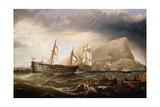 Shipping Off Gibralter  1877