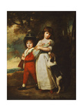 Portrait of the Vernon Children  the Little Girl Standing Full Length in a White Dress Tied with…