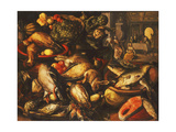 Game  Fish  Fruit and Vegetables in Baskets and Bowls in a Larder  1569