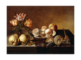 A Silver Plate of Peaches  a Vase of Parrot Tulips  Pears and Shells on a Partly Draped Table