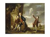 Group Portrait of George Fitzgerald with His Sons George  Seen Flying a Kite  and Charles Johan…