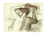 Naked Woman Styling Her Hair (Bust); Femme Nue Se Coiffant (Buste)