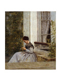A Woman Crocheting