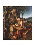 Saint Jerome Writing in a Rocky Landscape  C1515
