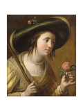 Portrait of Princess Elizabeth II Van De Palts as a Shepherdess  Bust Length  Holding a Rose
