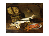 A Salmon  a Mackerel  a Lobster on a Plate  a Wicker Basket  Oysters  a Chianti Bottle and a…