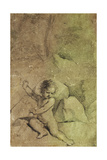 Cupid Drawing an Arrow from a Quiver  in a Landscape
