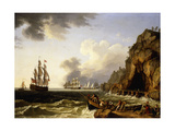 A View of the Coast Near Naples with a British Royal Navy Three-Decker Flying the Flag of a Vice…