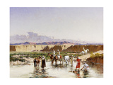Arab Horsemen Watering in an Oasis