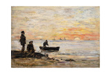 Low Tide - Shore and Fishermen at Sunset; Maree Basse - Rivage Et Pecheurs Au Coucher Du Soleil …