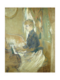 At the Piano  Madame Juliette Pascal in the Salon of the Chateau De Malrome; Au Piano  Madame…