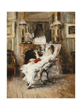 An Elegant Lady Holding a Fan  1874