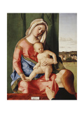 The Madonna and Child with a Male Donor  a Landscape Beyond