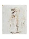 Woman Walking with Open Umbrella; Femme En Promenade Tenant Une Ombrelle Ouverte  1880