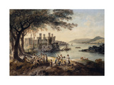 Conway Castle  with John Smith 'The Blind Harper' in the Foreground  1796
