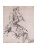 A Seated Man Playing the Flute  in Profile to the Right  Ca1720s