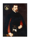 Portrait of a Gentleman Aged 28  Three-Quarter Length  in a Black Doublet with Red Sleeves and a…