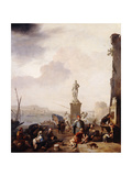 A Mediterranean Seaport with the Monument of Grand-Duke Ferdanindo I of Tuscany at Leghorn