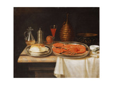 A Still-Life; with a Lobster and Bread on Salvers  a Decanter of Wine and Other Items on a Partly…