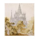 A Gothic Cathederal Near Bauman; Eine Gotische Kathedrale Hinter Baumen  1814-15