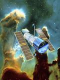 Artwork of Hubble Space Telescope And Eagle Nebula